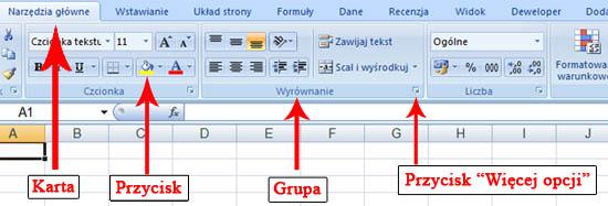 Interfejs i wstążki w Excelu 2007